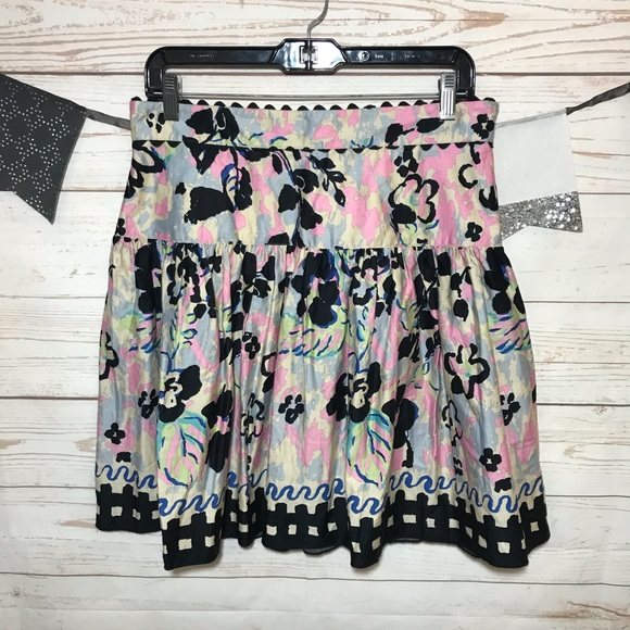 Anthropologie Dresses & Skirts - Anna Sui Floral Flare Mini Skirt Size 10 M
